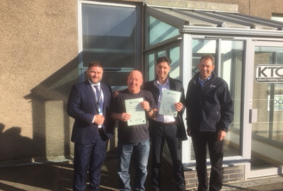 Gordon McGuigan and Phil McFadyen of Barr Environmental Limited were recently presented with their WAMITAB COTC certificates at Barr's Killoch Depot