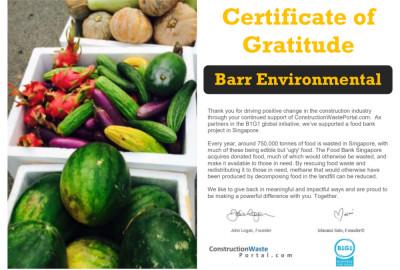 Barr receives a certificate of gratitude from ConstructionWastePortal.com